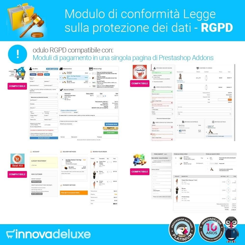 module - Legale (Legge Europea) - Codice in materia di Protezione dei Dati Personali RGPD - 18