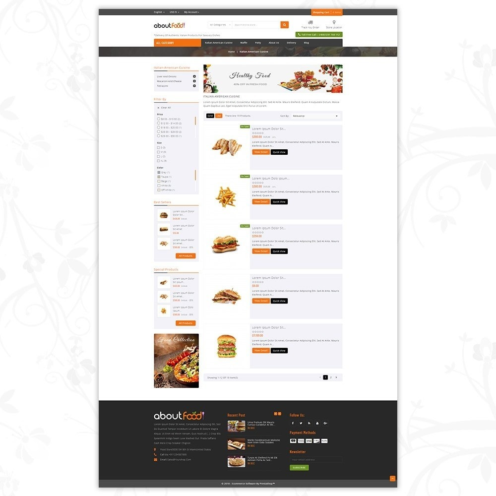 theme - Food & Restaurant - AboutFood - Food Store - 4