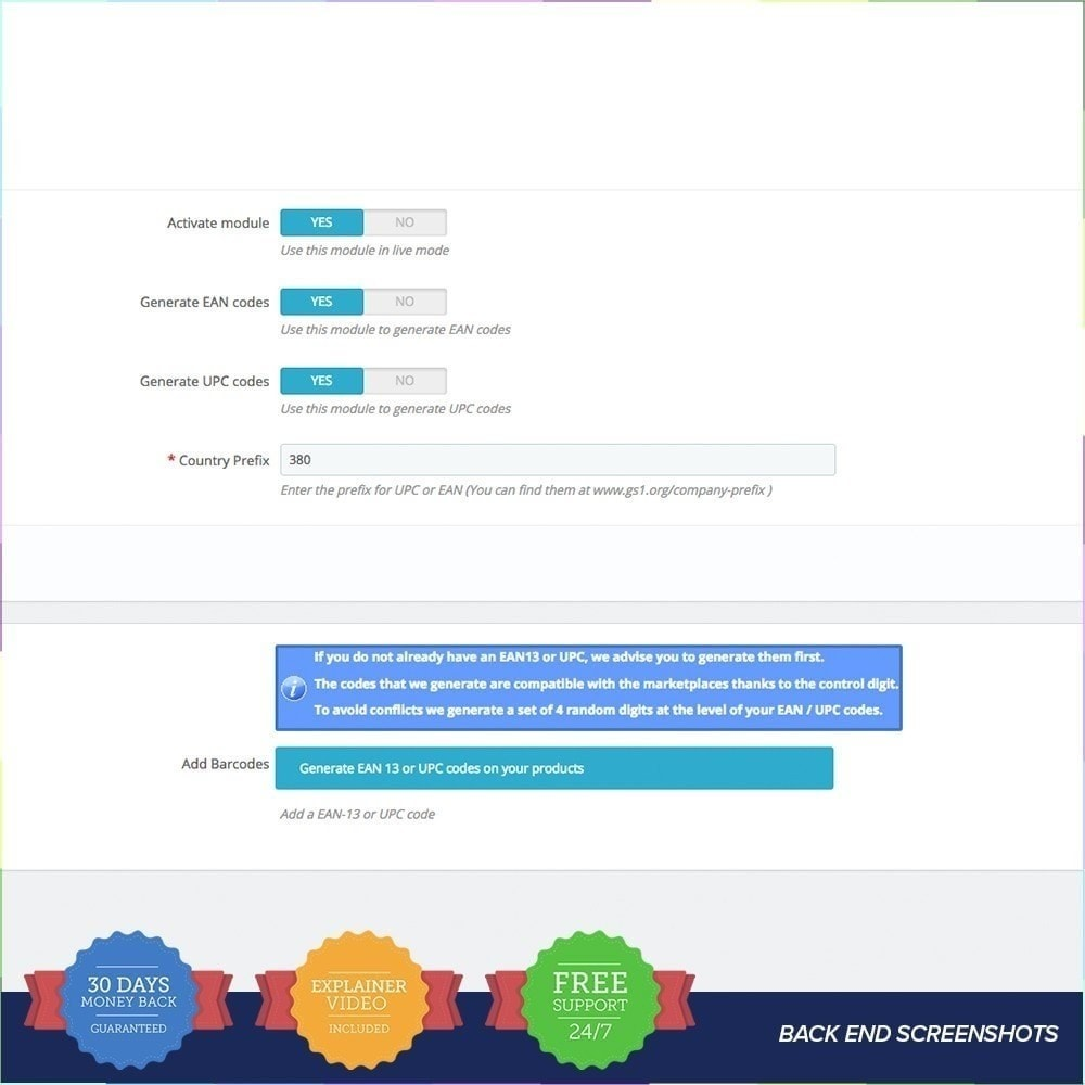 module - Gestión de Stock y de Proveedores - Generador de códigos PRO - EAN - UPC - 4