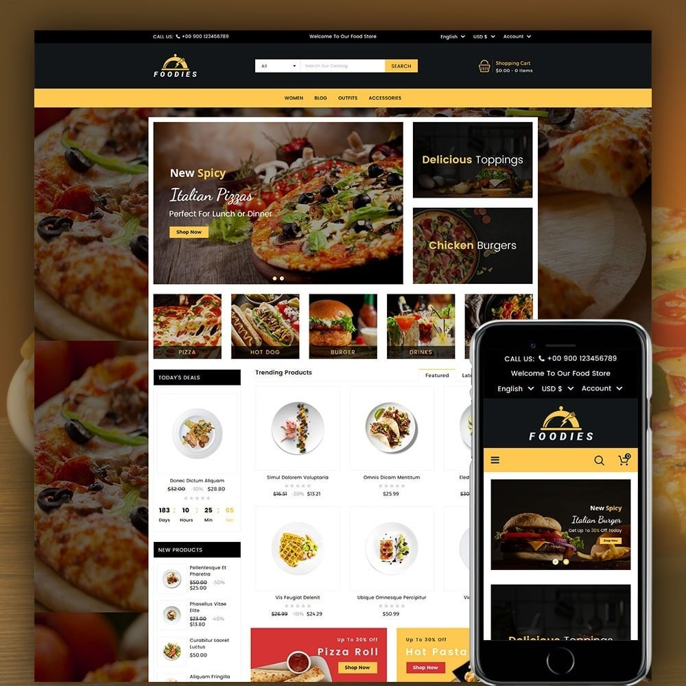 theme - Продовольствие и рестораны - Foodies Food Store - 1