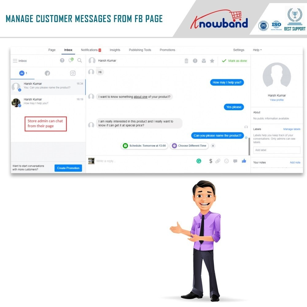 module - Supporto & Chat online - Knowband- Social Messenger, Live Chat Support - 6