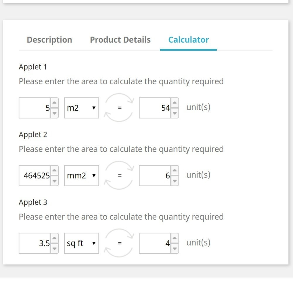 module - Grandezze & Unità di misura - Area to Quantity Conversion Calculator Applet - 2