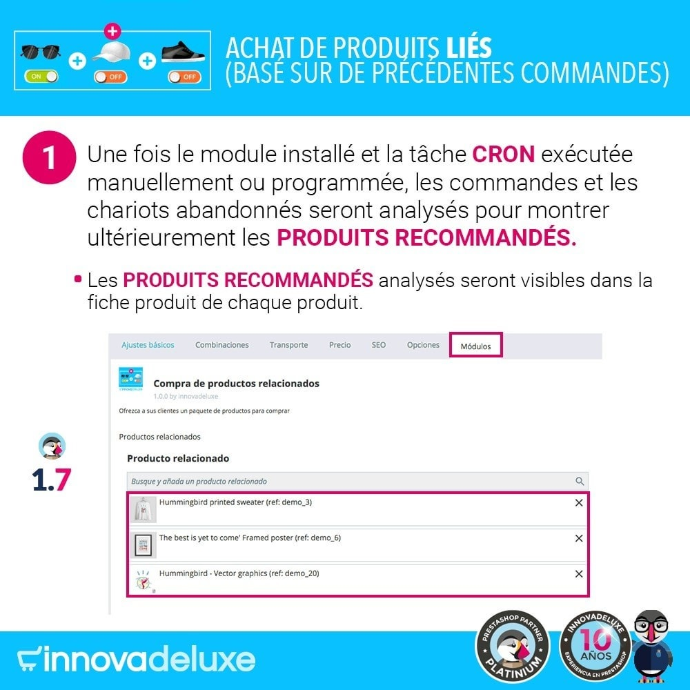 module - Ventes croisées & Packs de produits - Achat de produits liés selon les commandes précédentes - 2