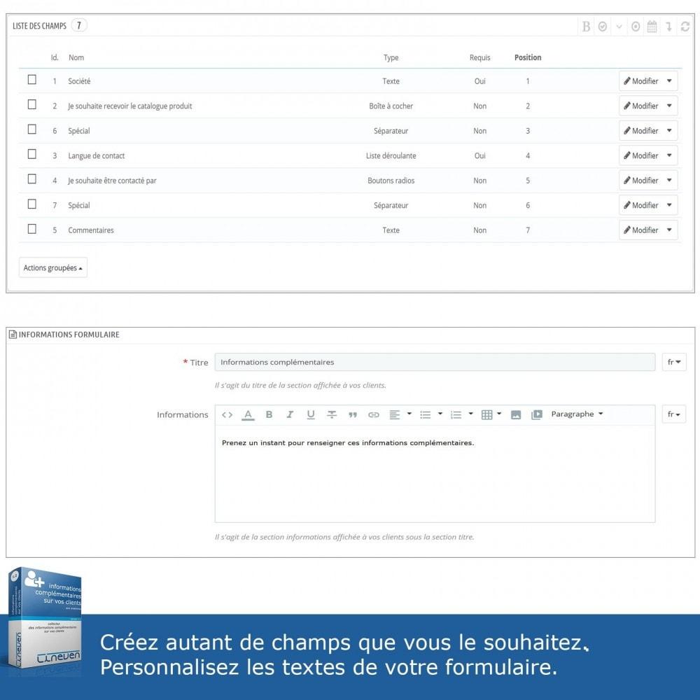 module - Inscription & Processus de commande - Informations Complémentaires sur vos Clients - 9
