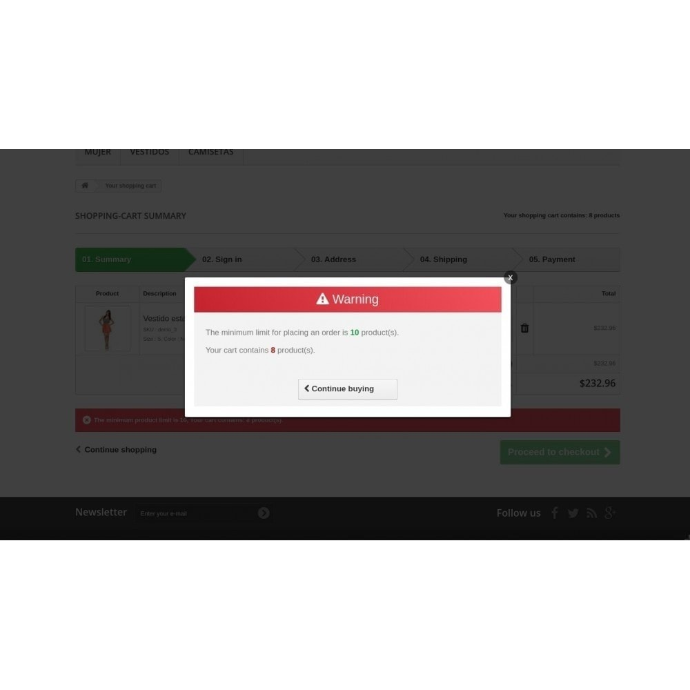 module - Inscription & Processus de commande - Determines the quantity of products per order (Min/Max) - 2