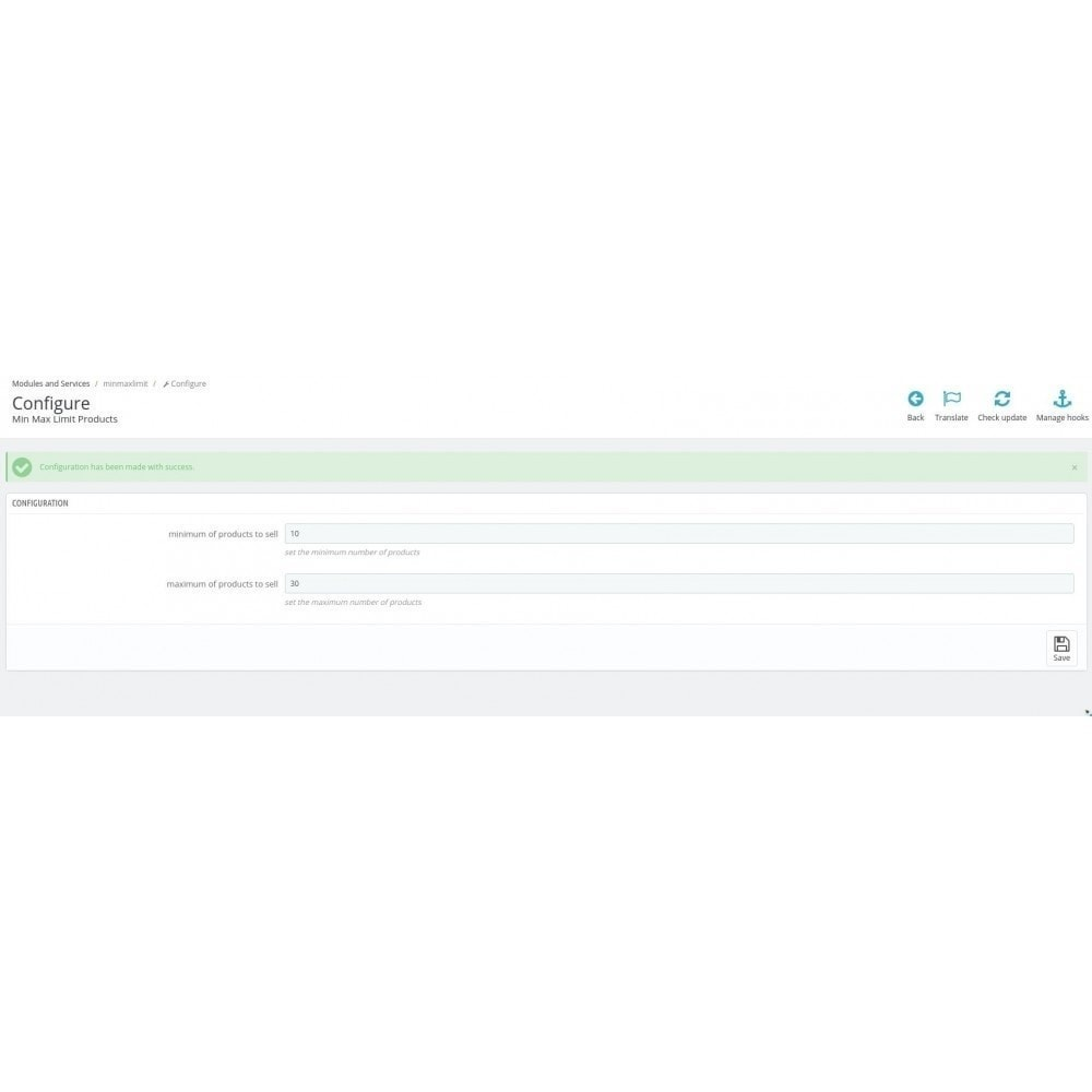 module - Inscription & Processus de commande - Determines the quantity of products per order (Min/Max) - 3