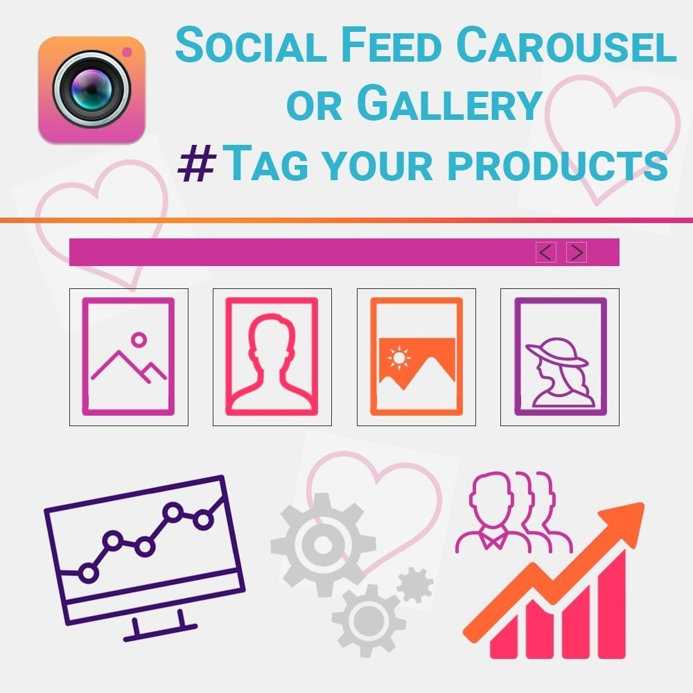 module - Social Widget - Social Feed Carousel or Gallery. Tag your products. - 1
