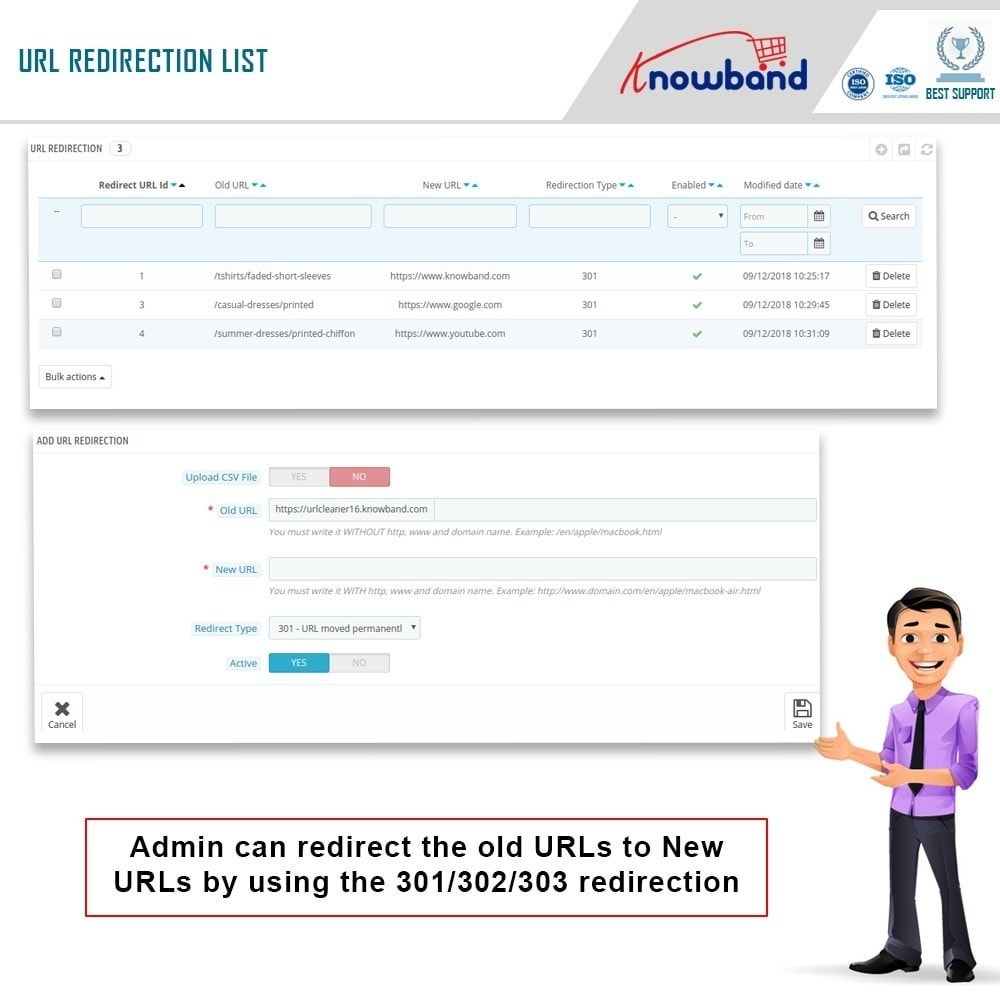 module - URL y Redirecciones - Knowband - SEO Pro - Clean URLs & 301/302/303 Redirects - 5