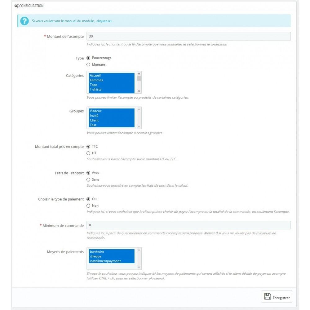 module - Autres moyens de paiement - Module d'acompte avec facture d'acompte - 1