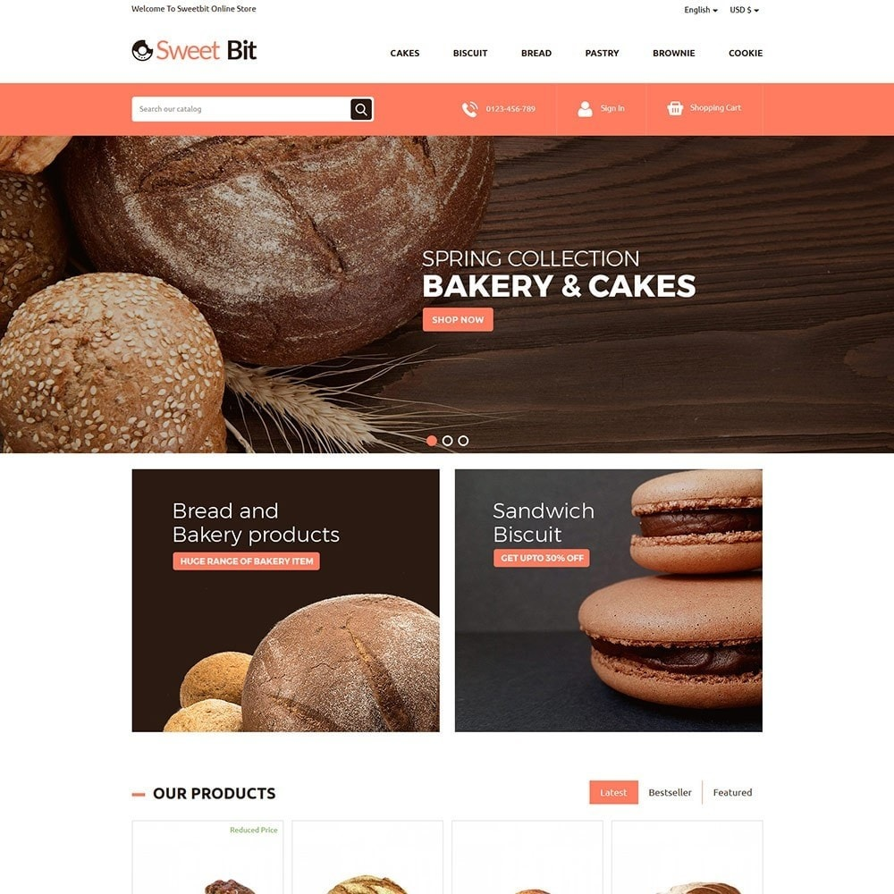 theme - Lebensmittel & Restaurants - Sweetbit - Bakery Online Store - 2