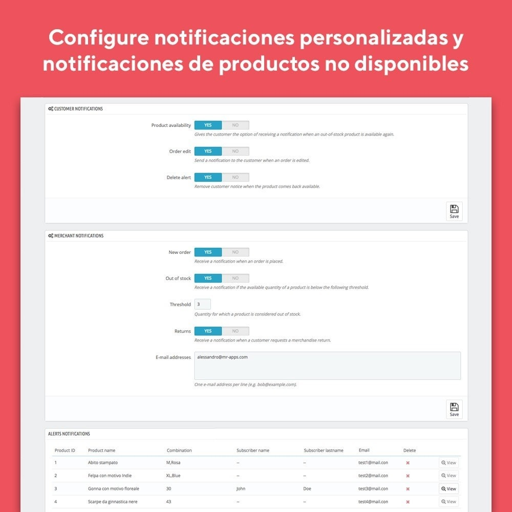 module - E-mails y Notificaciones - Mr Shop Mail Alerts - 5