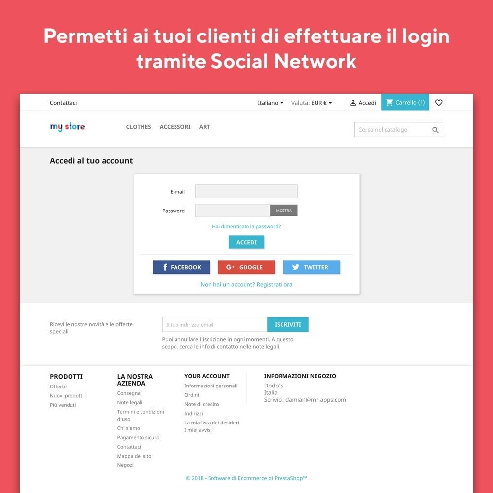 module - Login/Connessione - Mr Shop Login Social - 2