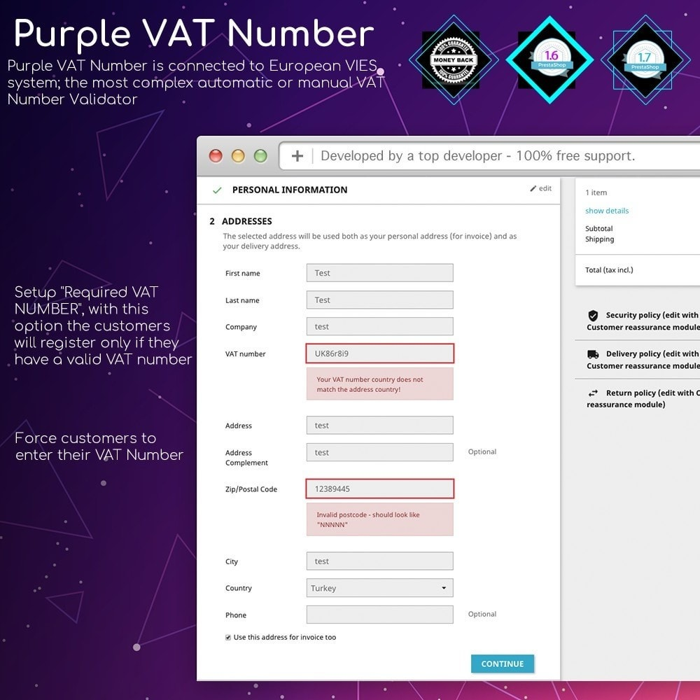 module - Internationaal & Lokalisatie - Purple VAT Number - 1