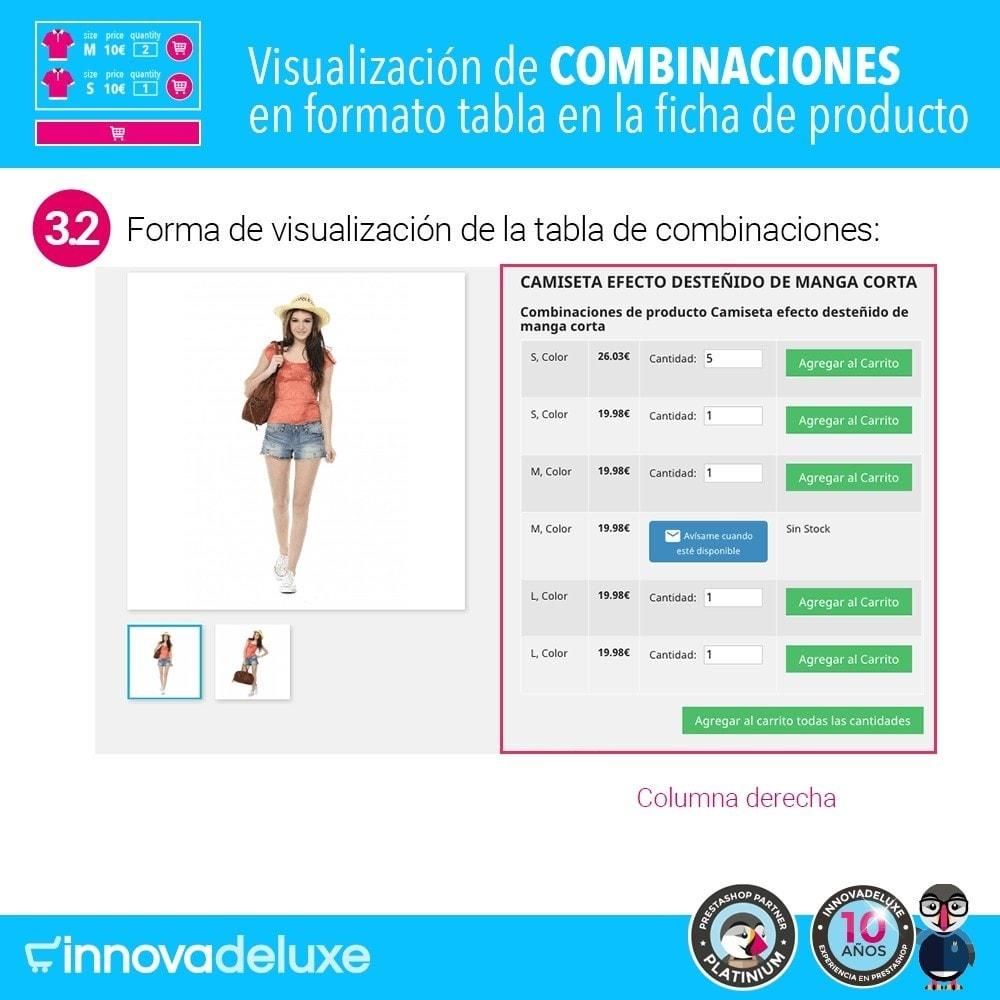 module - Combinaciones y Personalización de productos - Tabla de combinaciones en ficha de productos - 7