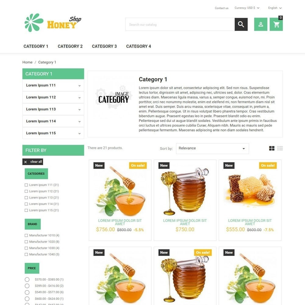 theme - Eten & Restaurant - HoneyShop - 2