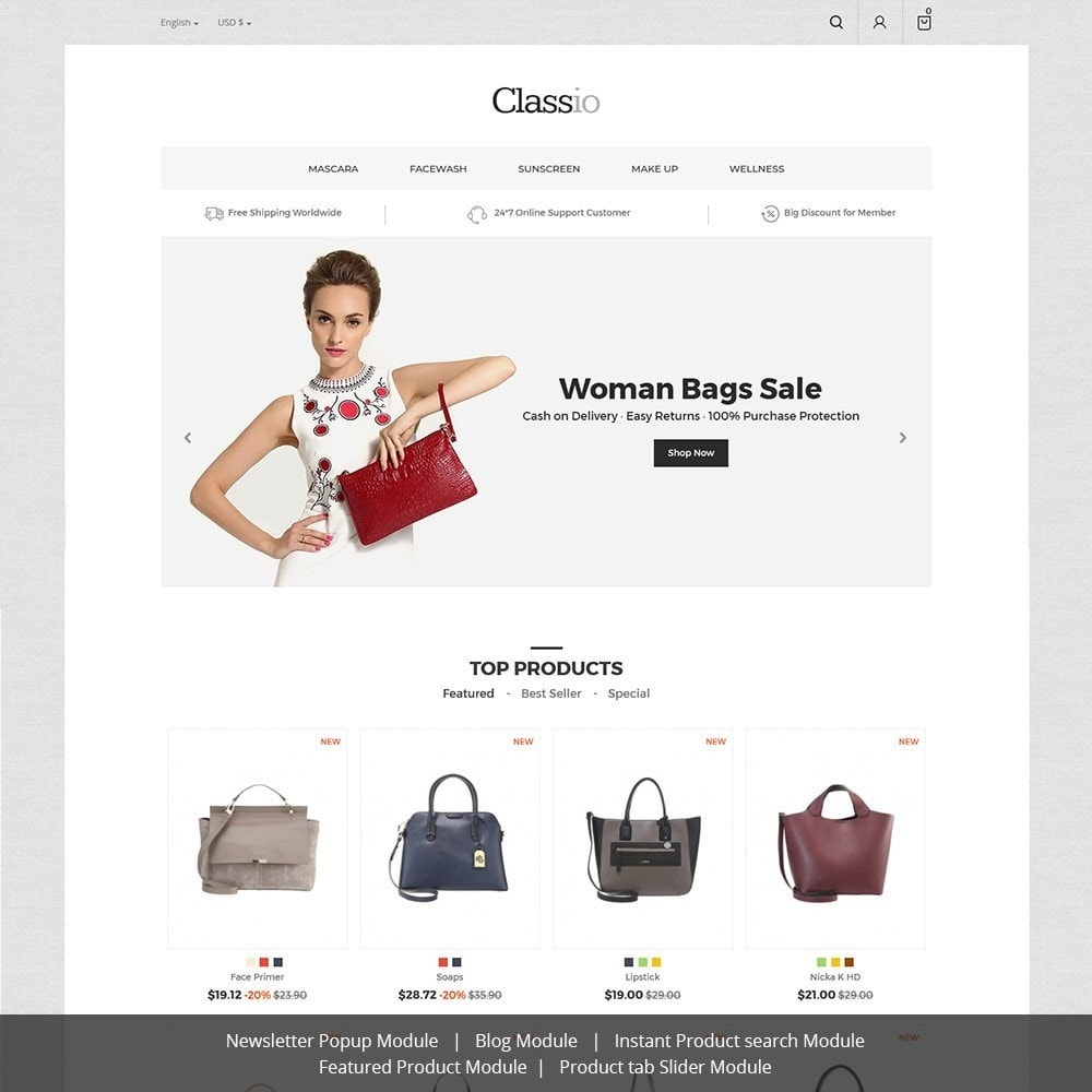 theme - Mode & Chaussures - Classio Bag - Magasin de mode - 1