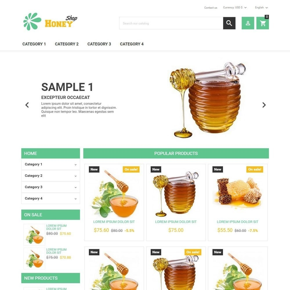 theme - Eten & Restaurant - HoneyShop - 1