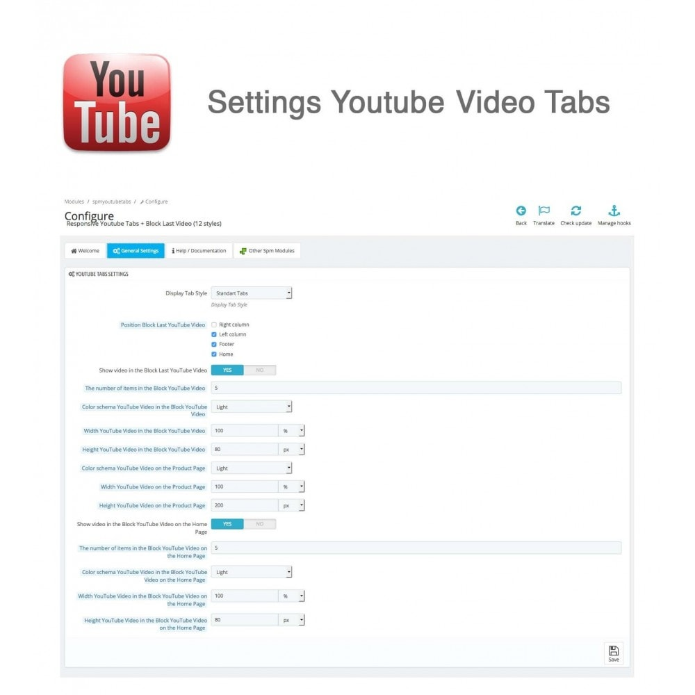 module - Bloques, Pestañas y Banners - Responsive Youtube Tabs + Block Last YouTube Video - 4