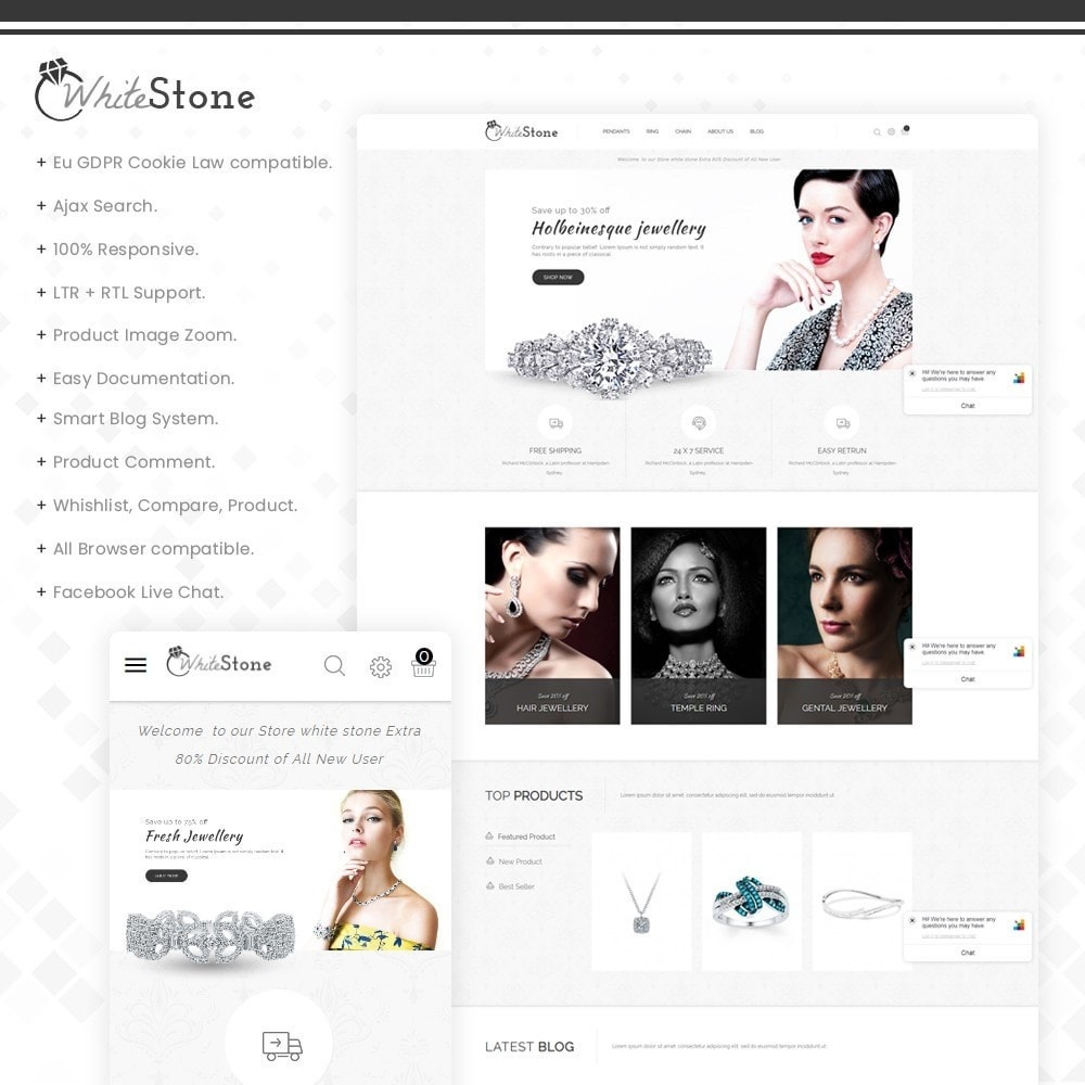 theme - Jewelry & Accessories - Whitestone– Multipurpose jewellery Store - 1