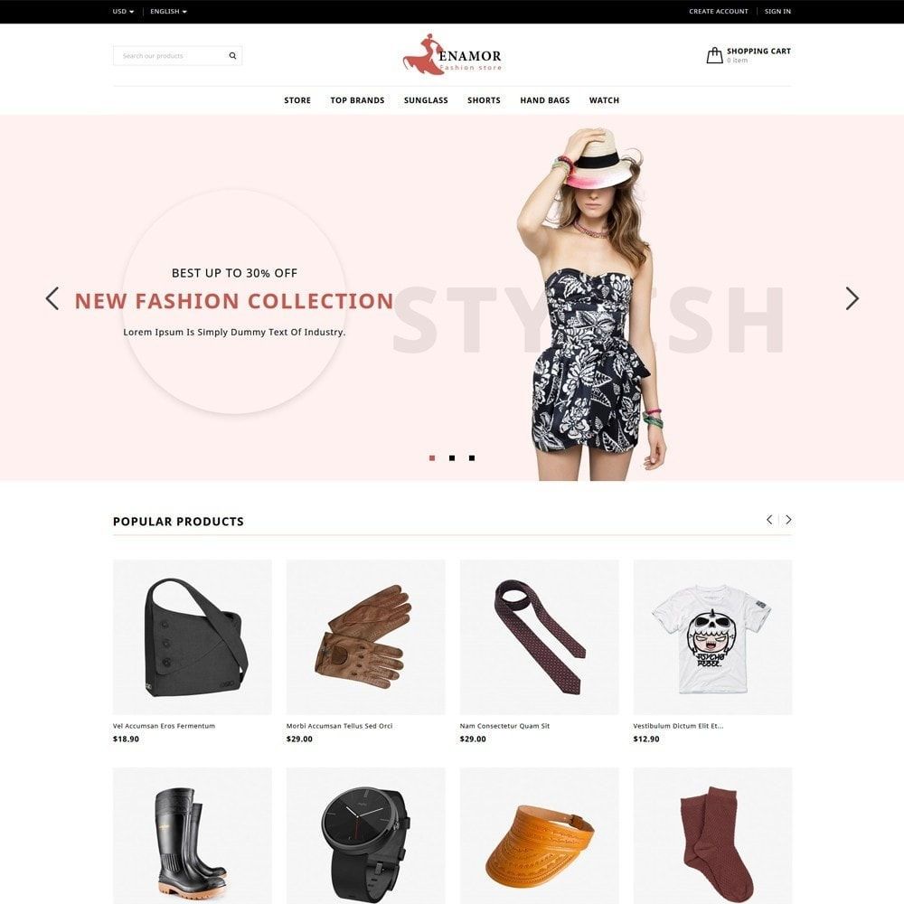 theme - Fashion & Shoes - Enamor Fashion Shop - 2