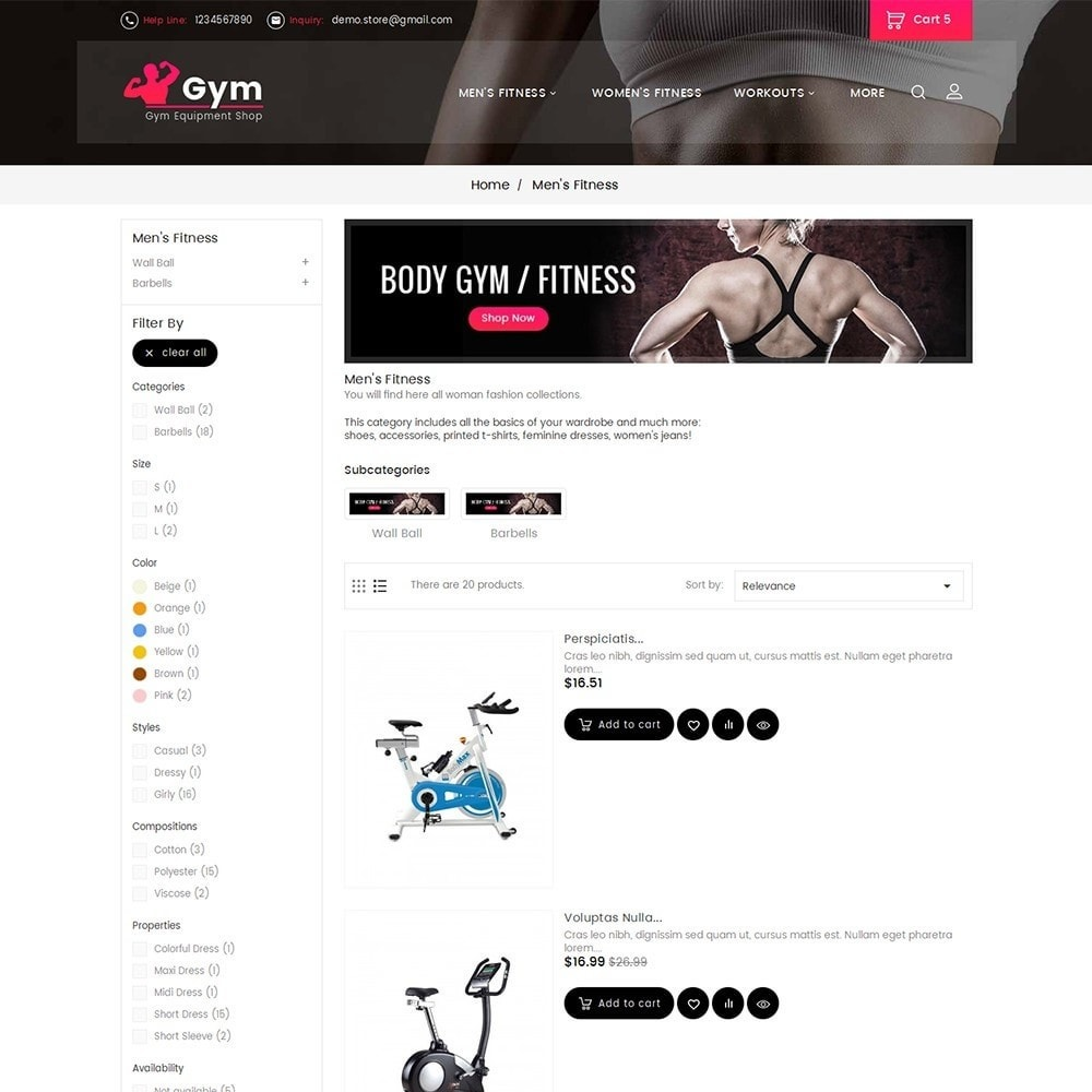 theme - Sports, Activities & Travel - Gym Equipment Store - 7