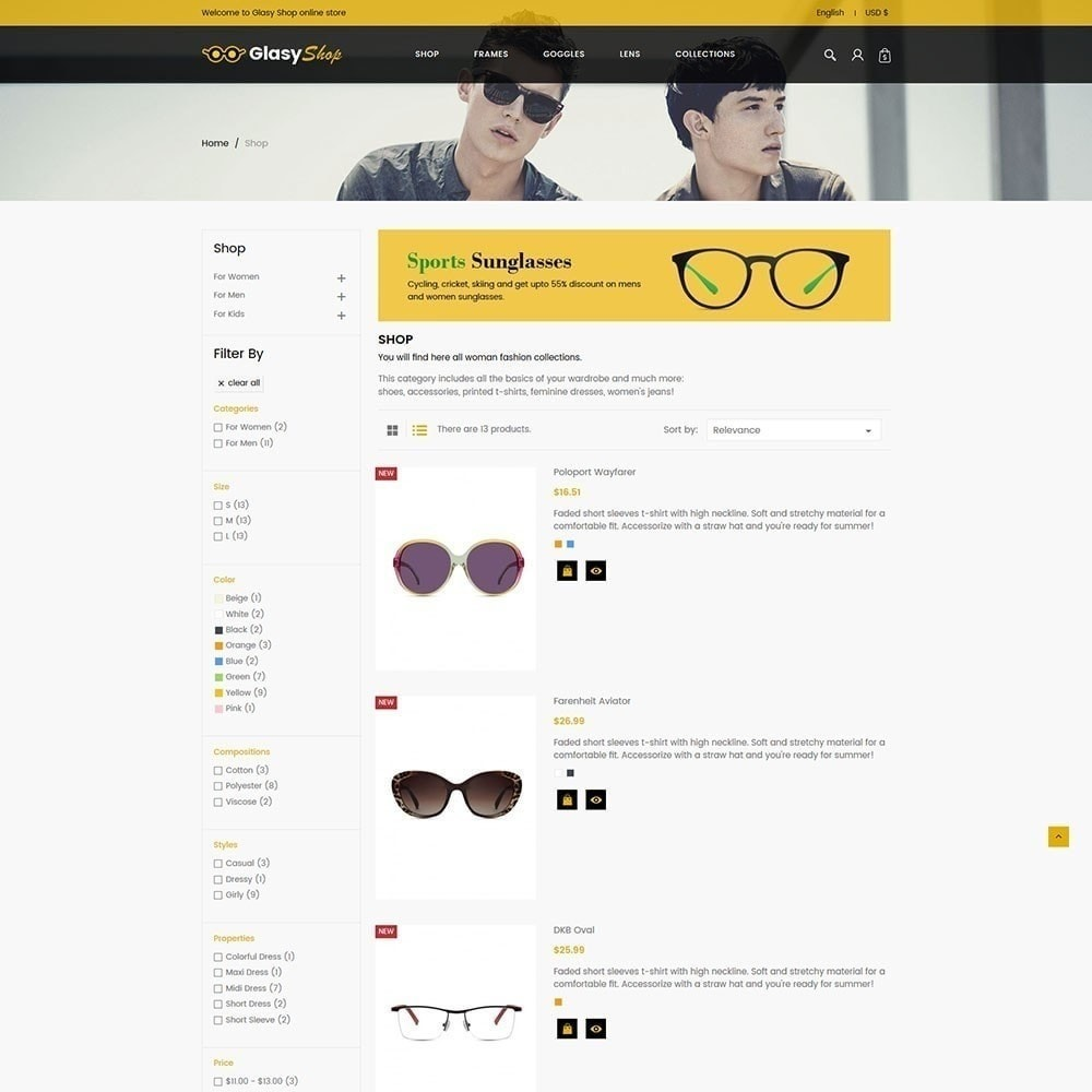 theme - Moda & Calçados - Loja de moda de vidro solar - 5