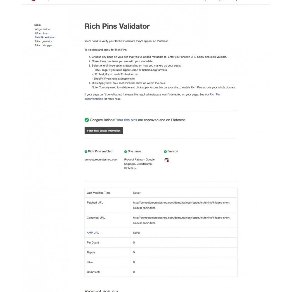 module - SEO (référencement naturel) - Note du produit + Snippets, Breadcrumb, Rich Pins - 5