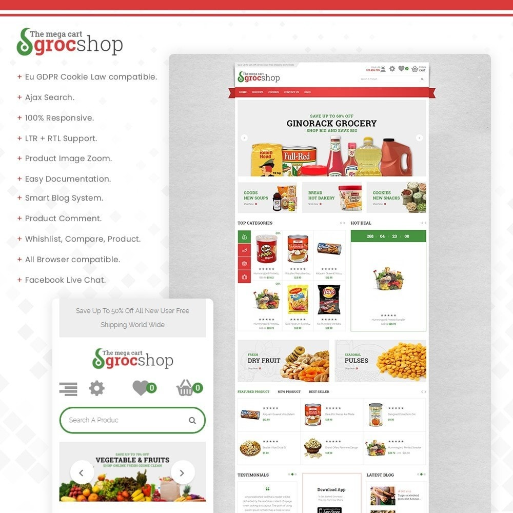 theme - Alimentation & Restauration - grocshop - vegetables & grocery store - 1