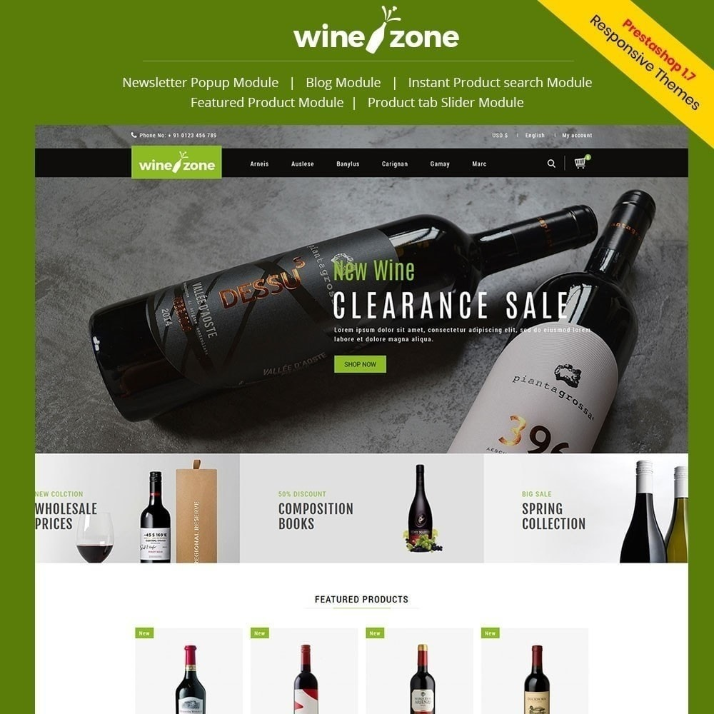 theme - Продовольствие и рестораны - Winezone - магазин вина - 1