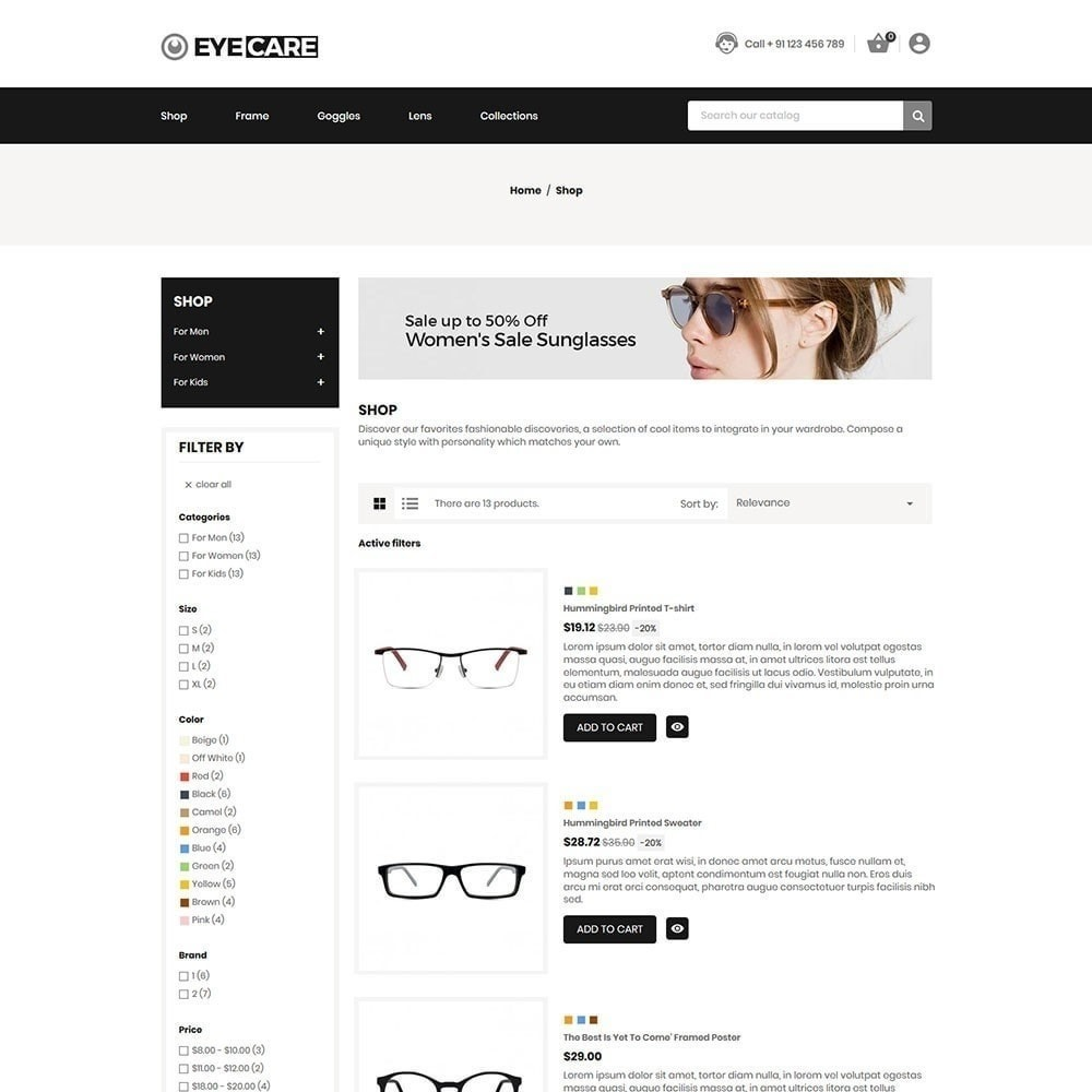 theme - Mode & Chaussures - Eyecare - Magasin de mode - 5