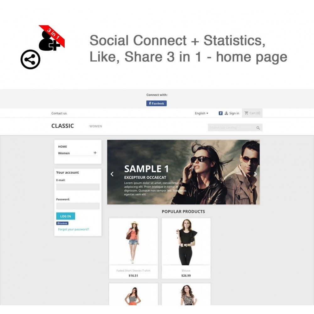 module - Login & Verbinden - Social Connect + Statistics, Like, Share 3 in 1 - 9