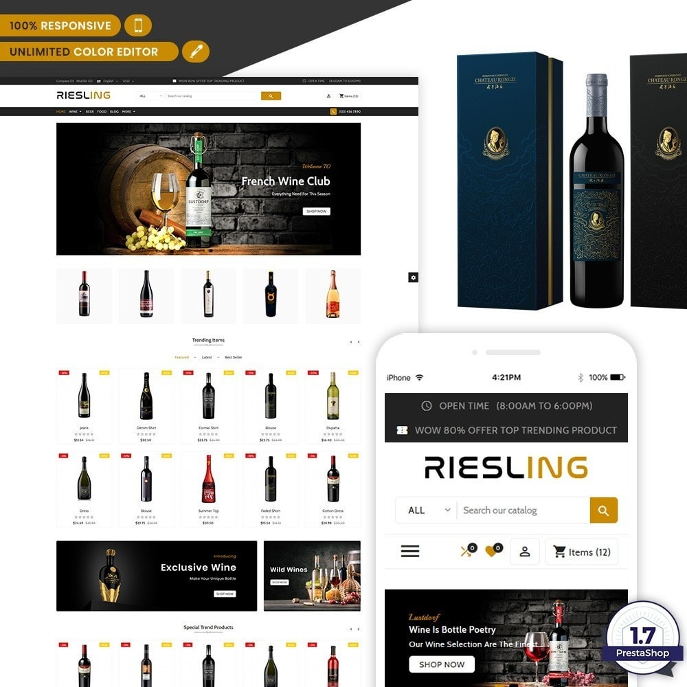 theme - Напитки и с сигареты - Riesling - The Wine International Shop - 1