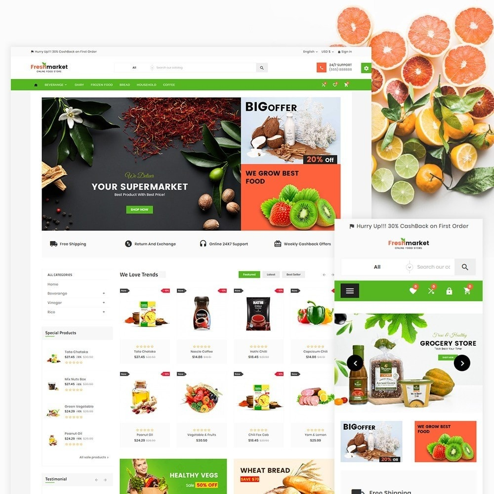 theme - Lebensmittel & Restaurants - Fresh Market – Food Super Store v3 - 2