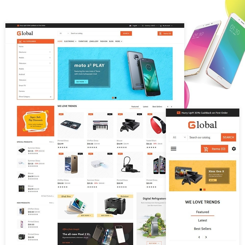 theme - Electronics & Computers - Elec Global - Electronic Multi Store Supported - 2