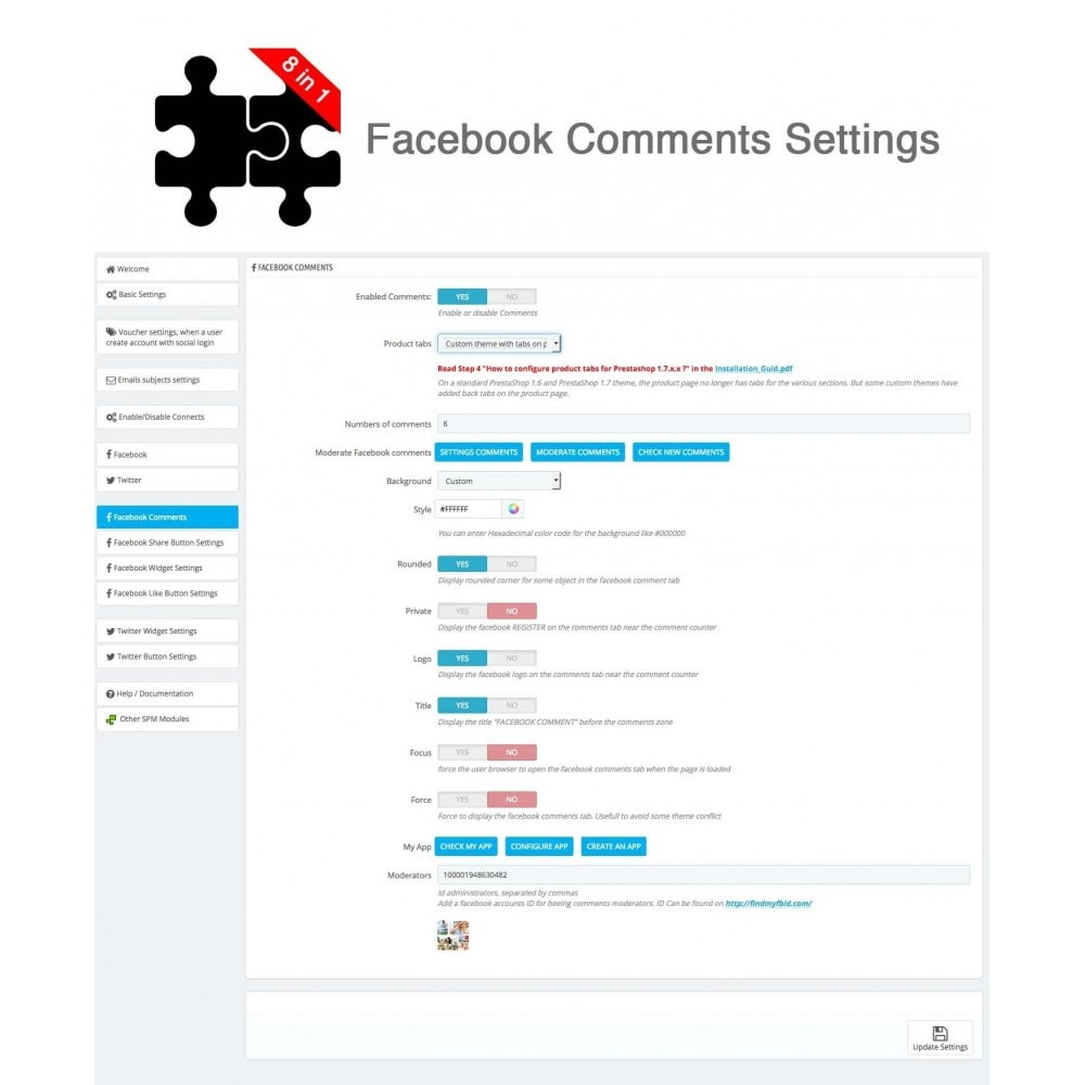 module - Compartir contenidos y Comentarios - Social Connects and Plugins + Statistics (8 in 1) - 28