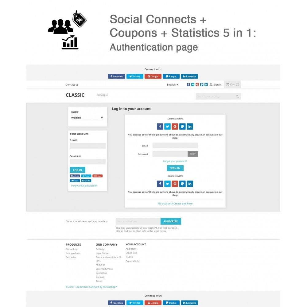 module - Social Network Coupon - Social Login - Paypal, Google, Twitter, LinkedIn, ... - 1