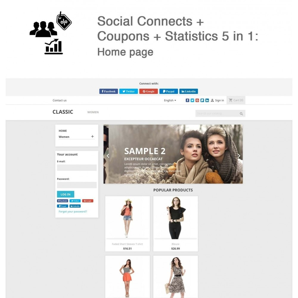 module - Social Network Coupon - Social Login - Paypal, Google, Twitter, LinkedIn, ... - 2