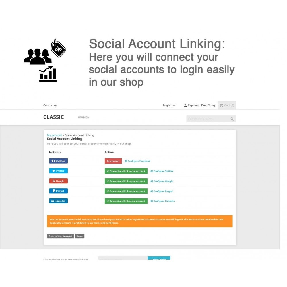 module - Social Network Coupon - Social Login - Paypal, Google, Twitter, LinkedIn, ... - 8