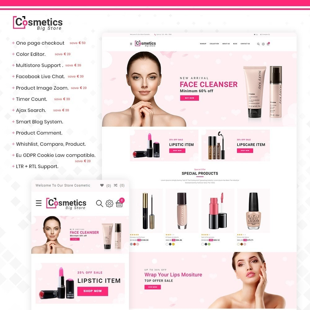 theme - Health & Beauty - Cosmetics– Cosmetics & beauty & health Store - 1