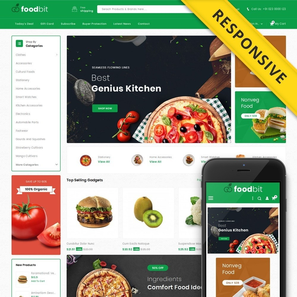 theme - Food & Restaurant - Foodbit - Vegetable Market - 1