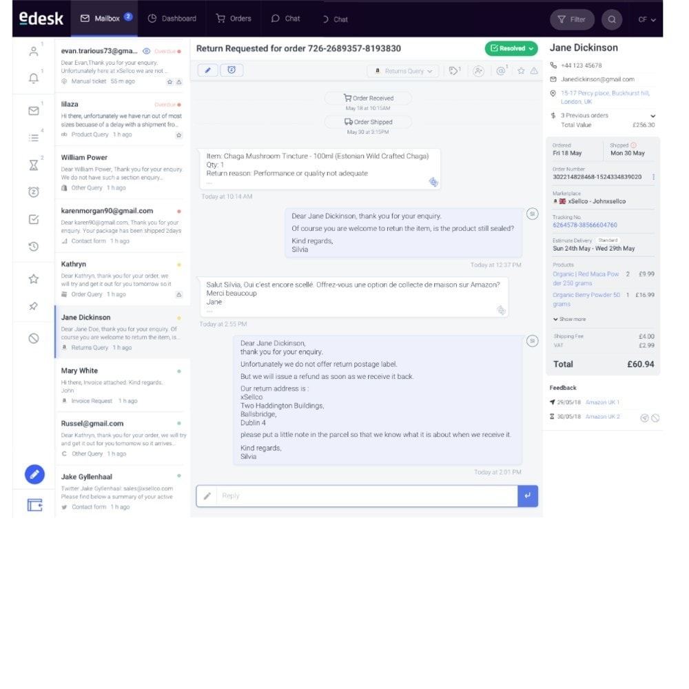 module - Customer Service - eDesk by xSellco - 3