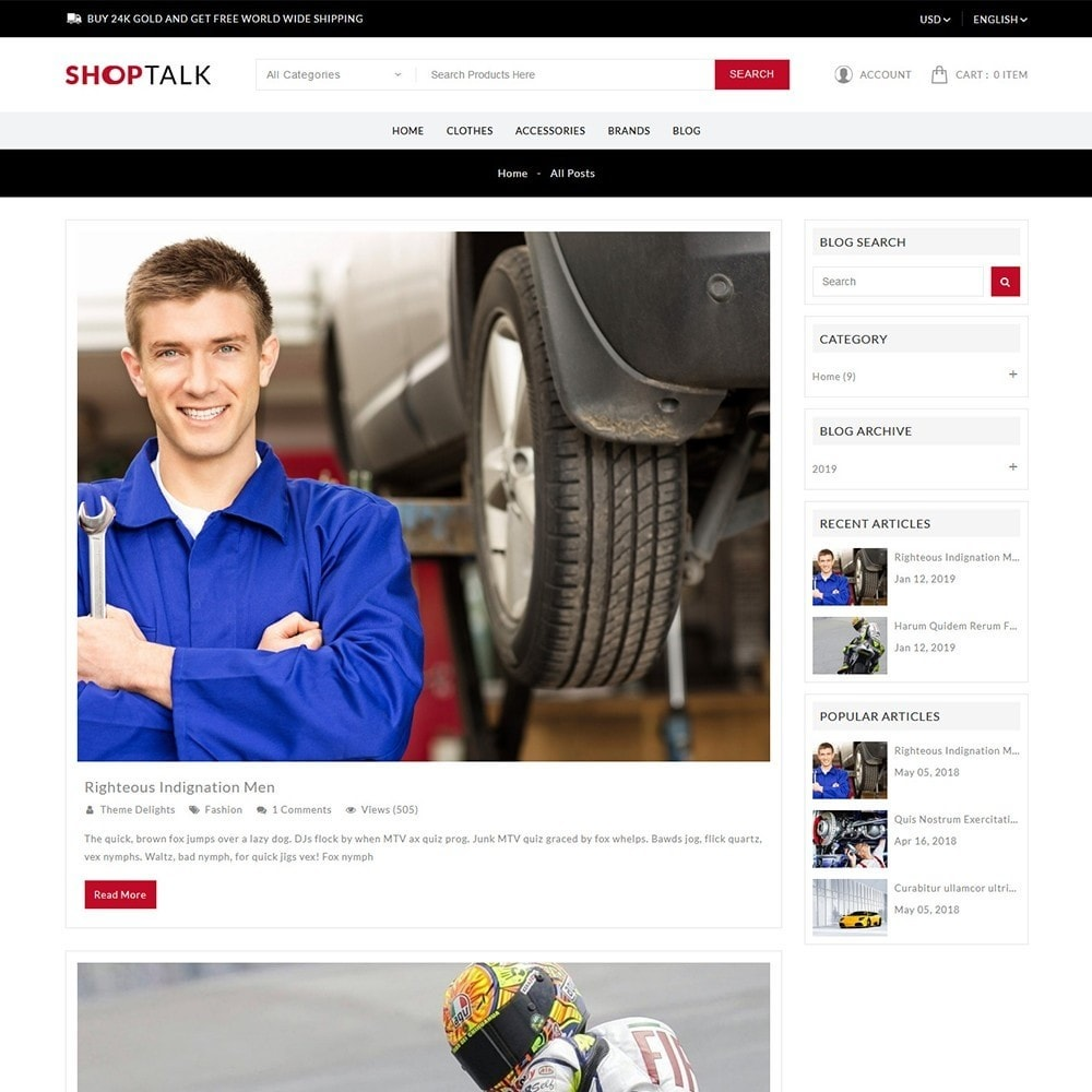 theme - Carros & Motos - ShopTalk Auto-parts Store - 9