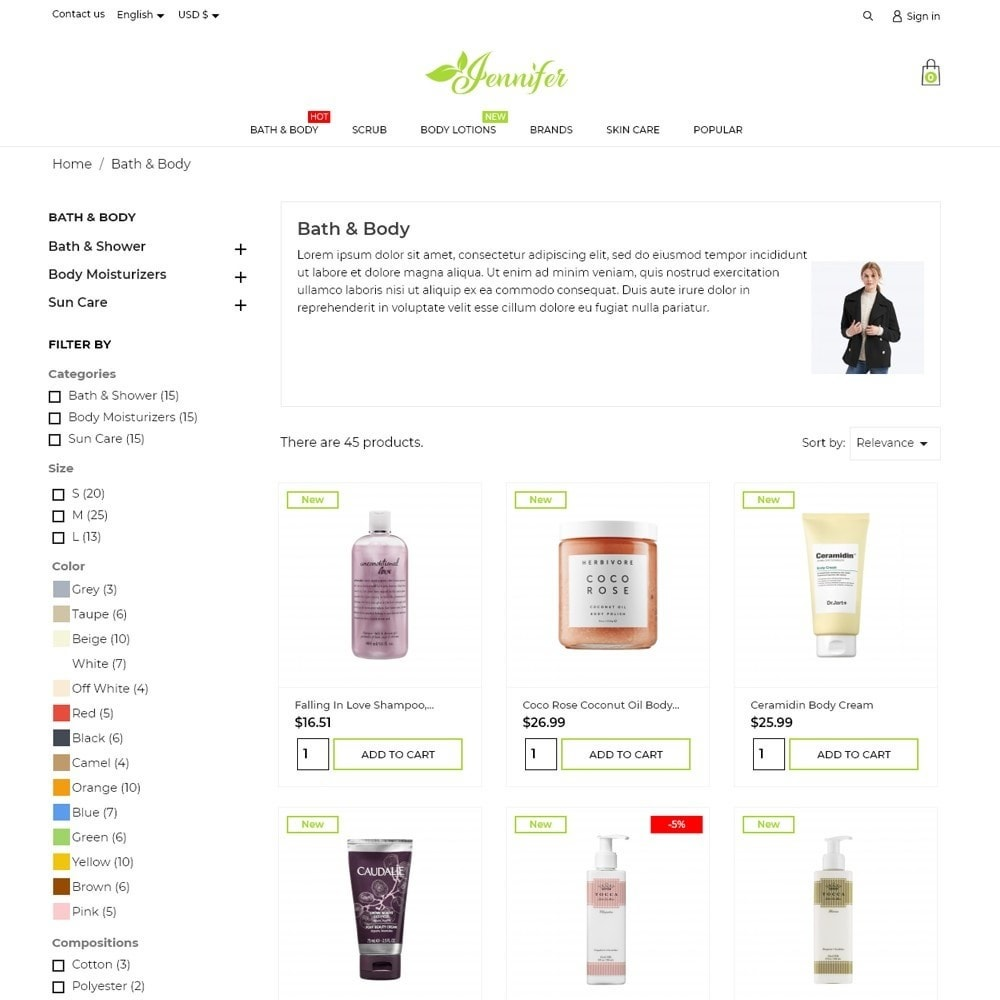 theme - Health & Beauty - Jennifer Cosmetics - 6