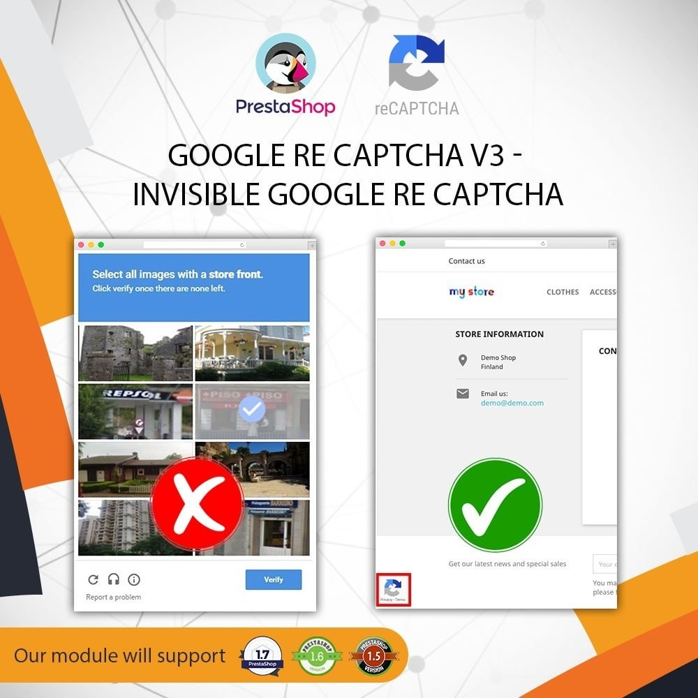 Invisible Google re CAPTCHA v3 + Block Spam Customer Module