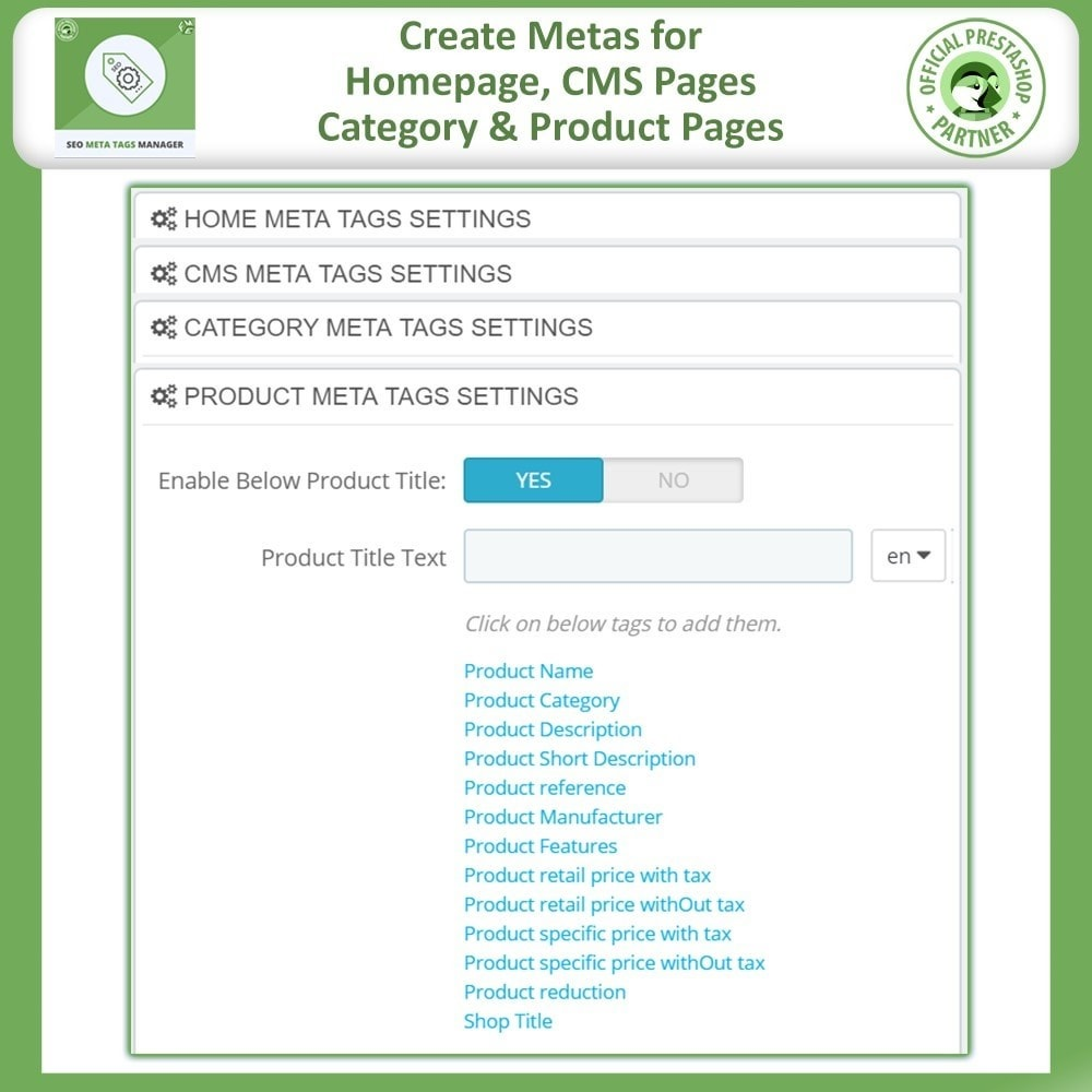 module - SEO (Indicizzazione naturale) - Meta Tag Manager - AutoGenerate SEO Title & Description - 2