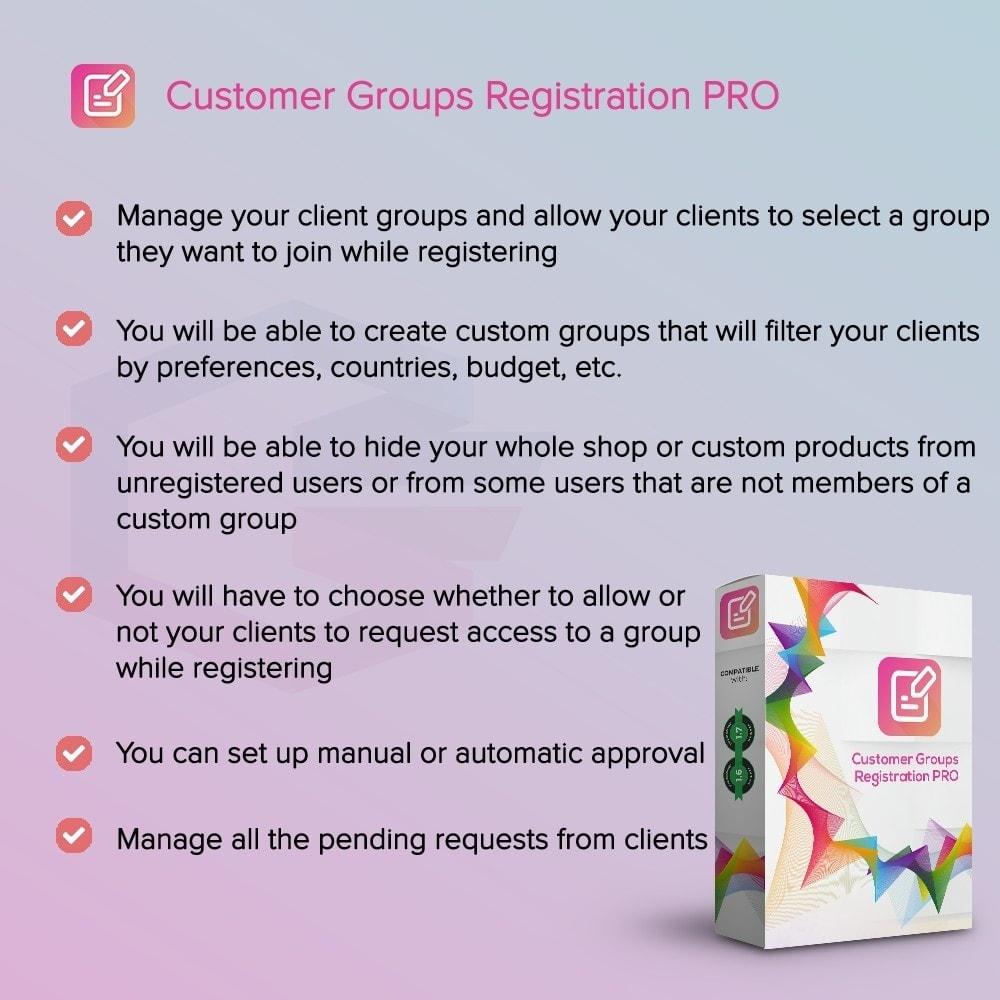 module - Inscription & Processus de commande - Enregistrement de groupes de clients PRO - 1