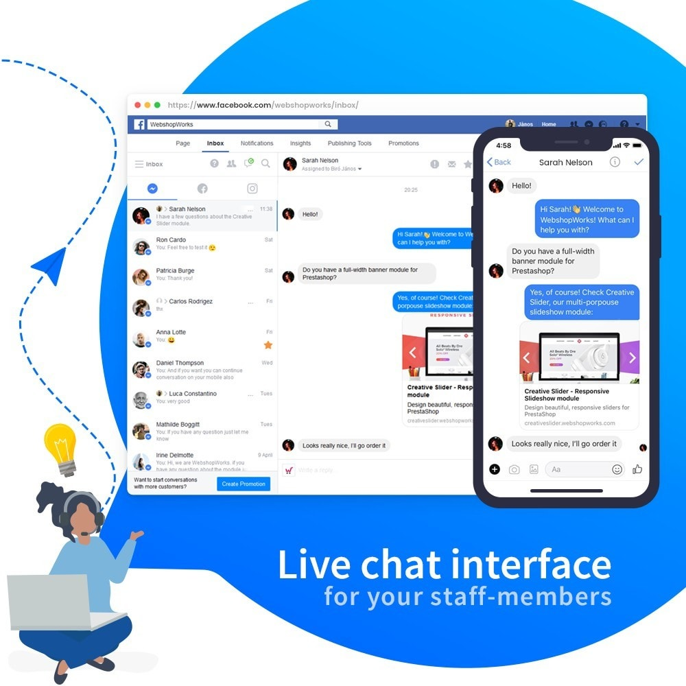 module - Suporte & Chat on-line - Messenger - Customer Live Chat - 4
