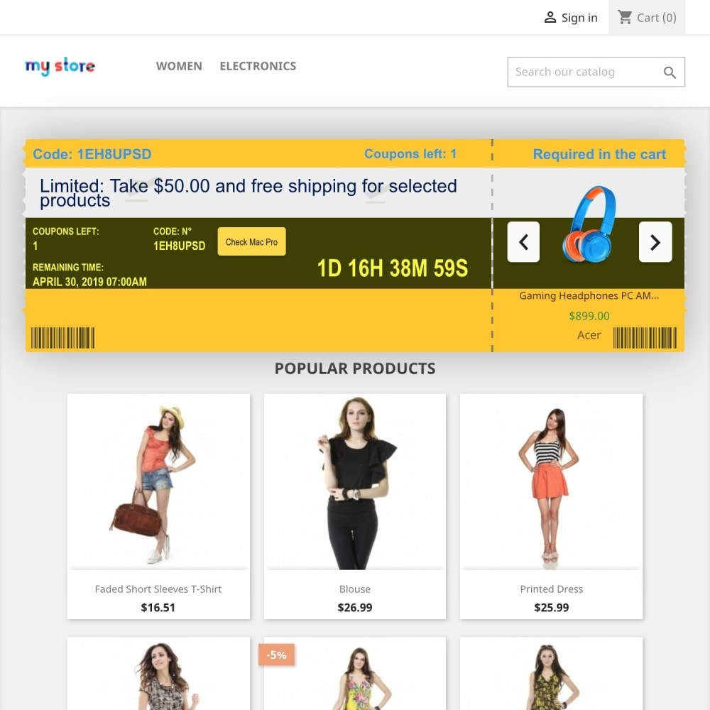 module - Promotions & Cadeaux - Coupons Banner with countdown (Groupon) - 4