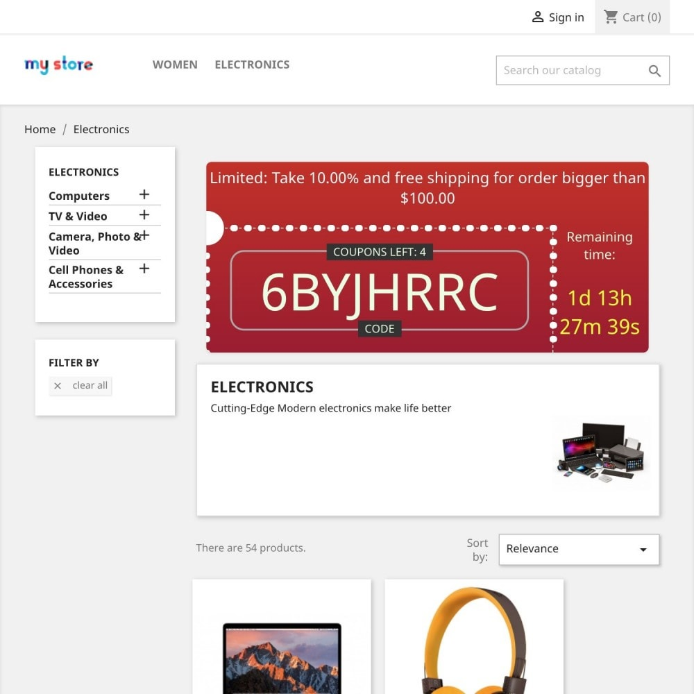 module - Promotions & Cadeaux - Coupons Banner with countdown (Groupon) - 6