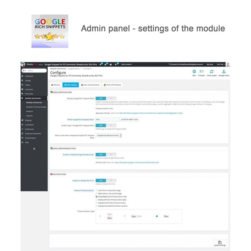 module - Avis clients - Google Snippets pour PS Avis, Breadcrumb, Rich Pins - 6